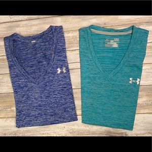 2 women's Under Armour loose heatgear T-shirts
